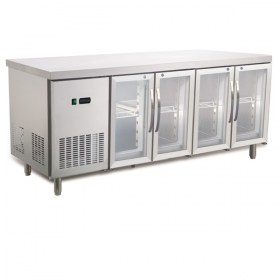 Bench Fridge 4 Glass Door Stainless Steel